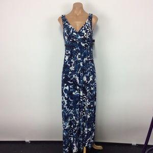 NWT CHAPS Blue Print Maxi Dress NEW Small Pretty